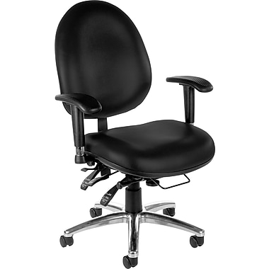 OFM Hi-Back Vinyl Computer and Desk Office Chair with Adjustable Arms, Black (811588013050)