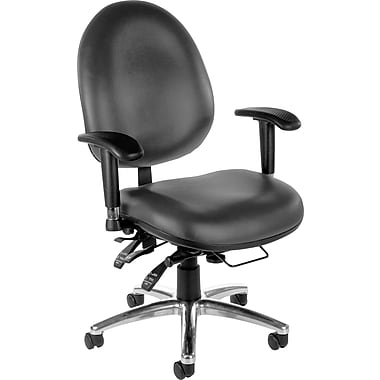 OFM Hi-Back Vinyl Computer and Desk Office Chair, Charcoal, Adjustable Arm (811588013036)
