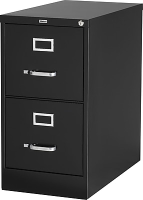 "Staples 2-Drawer Vertical File Cabinet, Locking, Letter, Black, 26.5""D (28882D)"