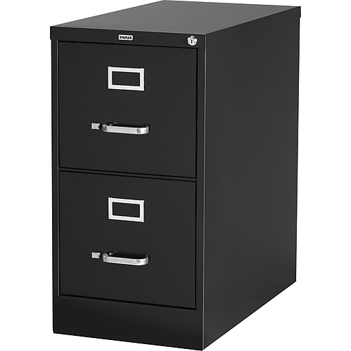 Staples 2 Drawer Letter Size Vertical File Cabinet, Black (26.5