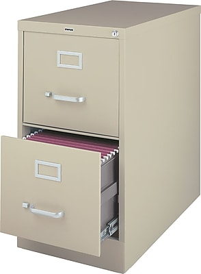 staples 2 drawer letter size vertical file cabinet putty 26 5 inch rh staples com 2 drawer file cabinet with lock 2 drawer file cabinet