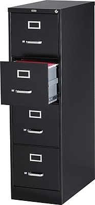 Staples 4 Drawer Vertical File Cabinet, Metal, Black, Letter Size, 26.5