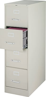 Staples 4 Drawer Vertical File Cabinet, Metal, Light Grey, Letter Size, 26.5