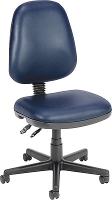 OFM Anti-Bacterial Vinyl Computer and Desk Office Chair, Armless, Navy (119-VAM-605)