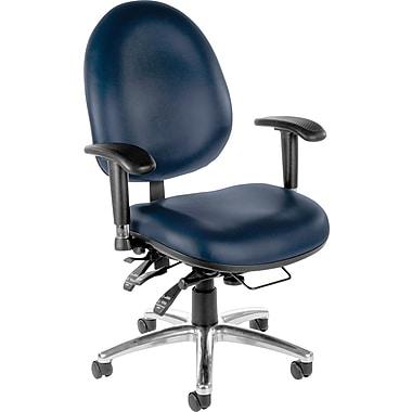 OFM Hi-Back Vinyl Computer and Desk Office Chair, Navy, Adjustable Arm (811588013043)