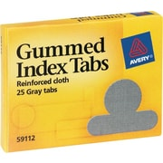 "Gummed Index Tabs, Round, Ext 1/2"", Gray Cloth"