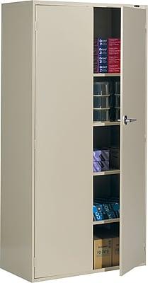 Global 9300 Series Economy Steel Storage Cabinets, Latch Handle, Desert Putty, 72