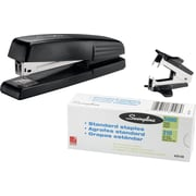 Swingline® Antimicrobial Standard Stapler with 5,000 Staples, Fastening Capacity 15 Sheets/20 lb., Black (SWI54551)