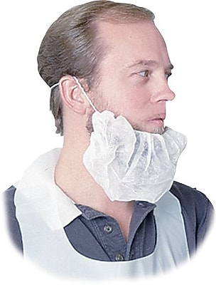 Disposable Beard Net, Spun-Bonded, White, 100/Pack