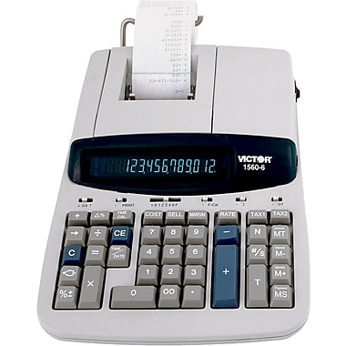 Victor® 2-Colour Commercial Ribbon Printing Calculator, 12-Digit Display (1560-6)