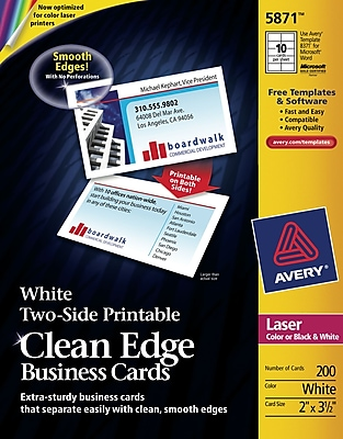 Avery Clean Edge Twoside Printable ColorLaser Business Cards
