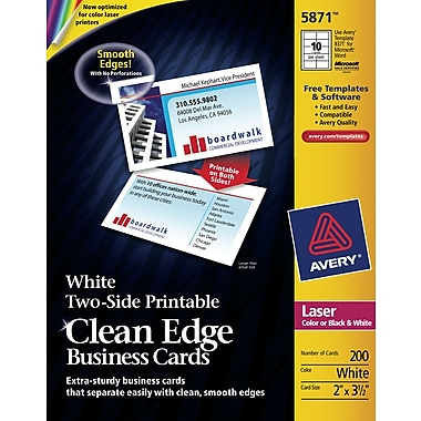 Avery Clean Edge Two Side Printable Color Laser Business Cards