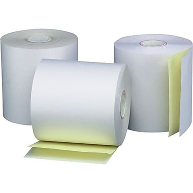Iconex – Rouleau de papier 2 épaisseurs, autocopiant, 2 1/4 po x 75 pi, paq./50, blanc/canari, (40216)