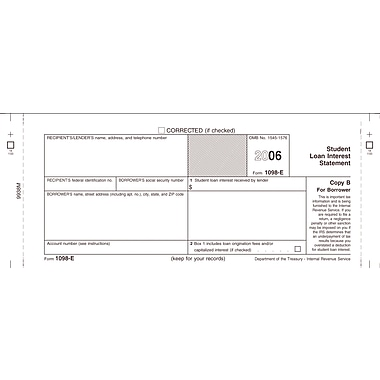 TOPS 1098E Tax Form, 1 Part, Borrower - Copy B, White, 8 1/2