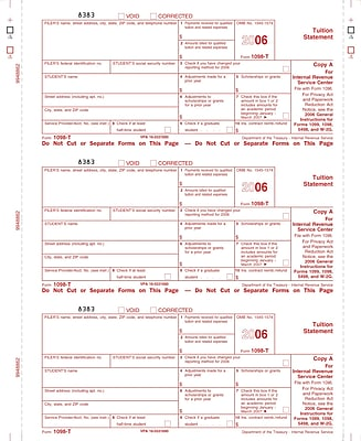"""tops® 1098t tax form, 1 part, filer/state - copy c, white, 8 1/2"""" x"""