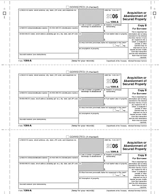 TOPS 1099A Tax Form, 1 Part, Lender/State - Copy C, White, 8 1/2