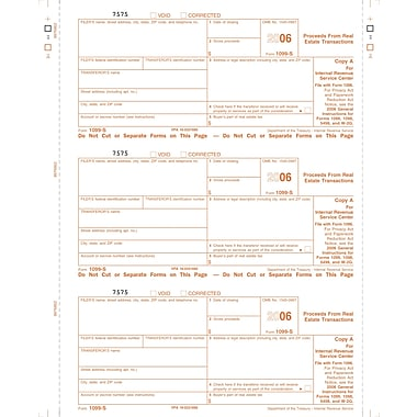 TOPS® 1099S Tax Form, 1 Part, Transferor Copy B, White, 8 1/2