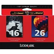 Lexmark 16/26 Black/Tri-Color Standard Yield Ink Cartridge, 2/Pack (10N0202)