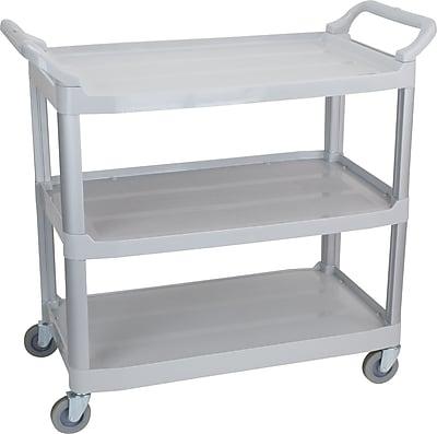 Staples 3-Shelf Plastic Utility Cart with Wheels, Gray