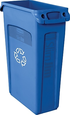 Rubbermaid Vented Recycling Slim Jim® Container, Blue, 23 gal.