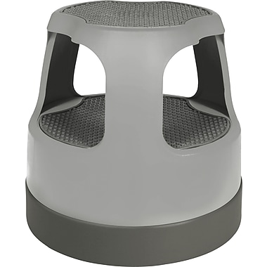 Cramer Scooter Stool Round, Step & Lock Wheels, Gray