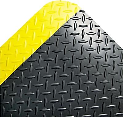 Crown Anti-Fatigue Floor Mat, Black/Yellow, 3' x 5'