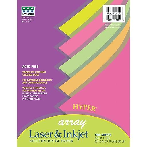 Pacon Array Hyper Bond Paper, Assorted Colors, 24 lb, 500/Rm