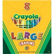Crayola Crayons, Large Size, Assorted Colors, 8/Box (52-0080)
