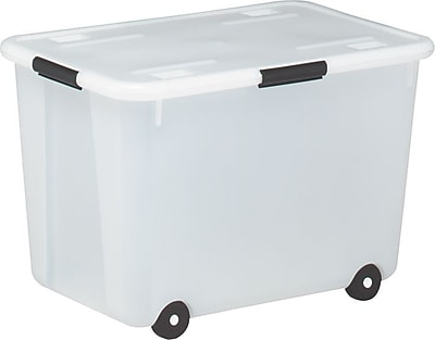 Advantus Rolling Storage Box Clear 15 Gallon Size Staples