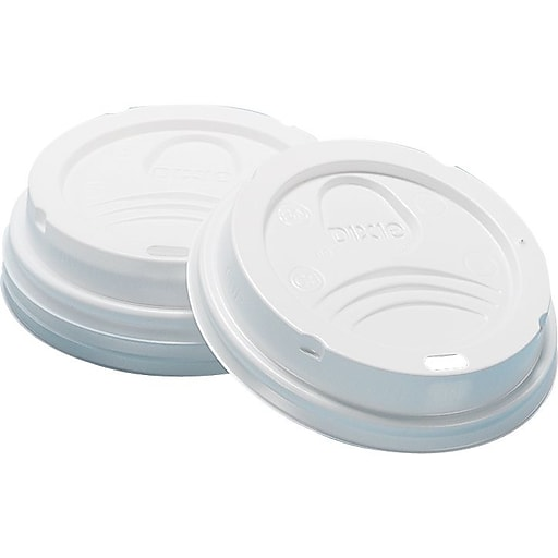 f2098da352a6 Dixie Dome Plastic Hot Cup Lid, 10-20 oz., White, 50/Pack (9542500DX)