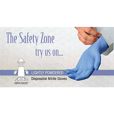 Safety Zone Nitrile Disposable Gloves, Powdered, Blue, Large, 100/Box