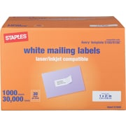 Staples® 18055/SIWM100 Multipurpose Address Label 30,000/Pack, White
