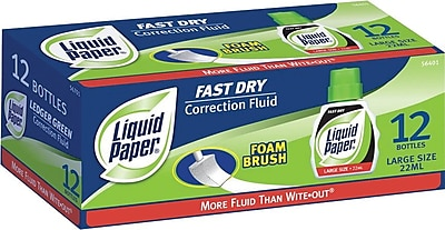 Paper Mate Liquid Paper Fast Dry Correction Fluid, 12/Pk