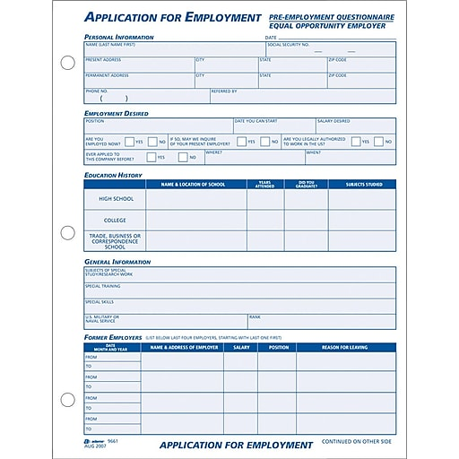 Adams® Employment Application Forms, 8-1/2\