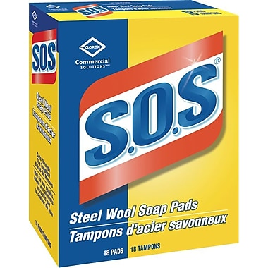 Clorox Commercial Solutions® S.O.S® Steel Wool Soap Pads, 18 Pads (CL98026)
