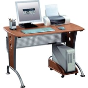 Techni Mobili Modern Computer Desk With Mobile CPU Caddy, Dark Honey