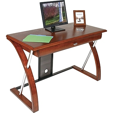 Office Star OSP Designs AR2544R Computer Desk with Powder-Coated Black Accents, Oak