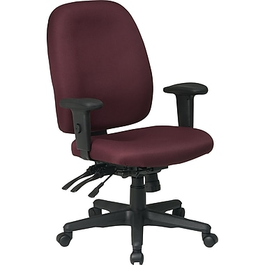 Office Star Fabric Computer and Desk Office Chair, Burgundy, Adjustable Arm (43819-227)