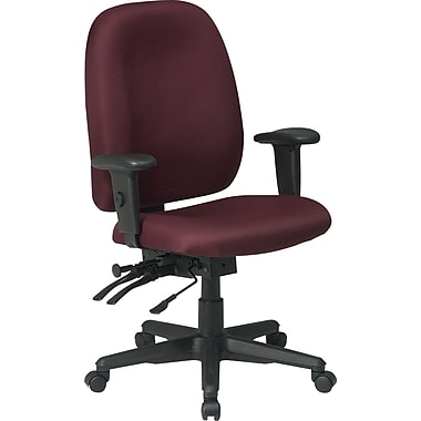 Office Star Fabric Computer and Desk Office Chair, Burgundy, Adjustable Arm (43998-227)