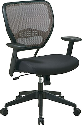 Office Star SPACE Mesh Managers Office Chair, Adjustable Arms, Black (55-38N17)