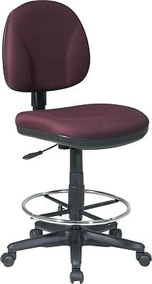 Office Star™ Fabric Armless Drafting Chair, Burgundy