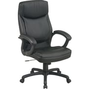 Office Star™ Leather Executive Office Chair, Black w/ 2-Tone Stitching, Fixed Arm (EC6582-EC3)