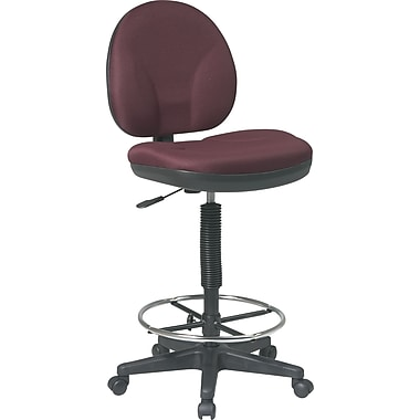 Office Star Low-Back Fabric Drafting Stool, Armless, Burgundy