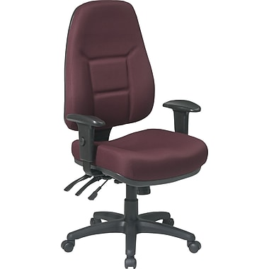 Office Star™ Fabric Computer and Desk Office Chair, Burgundy, Adjustable Arm (2907-227)