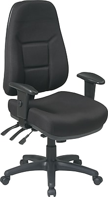 Office Star Fabric Computer and Desk Office Chair, Black, Adjustable Arm (2907-231)
