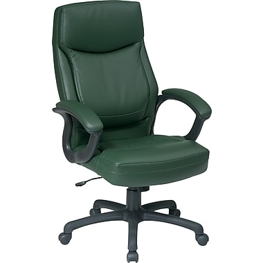 Office Star Leather Executive Office Chair, Green, Fixed Arm (EC6583-EC16)