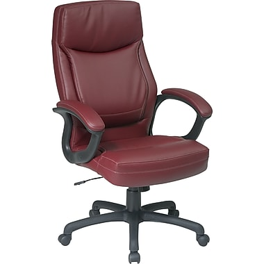 Office Star Leather Executive Office Chair, Burgundy, Fixed Arm (EC6583-EC4)
