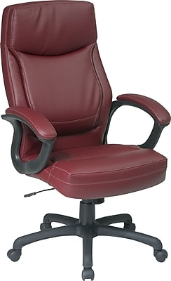 Office Star Leather Executive Office Chair, Burgundy, Fixed Arm (EC6583-EC4)