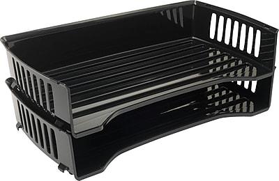 Staples® Black Plastic Side-Load Legal Trays, Black, 3