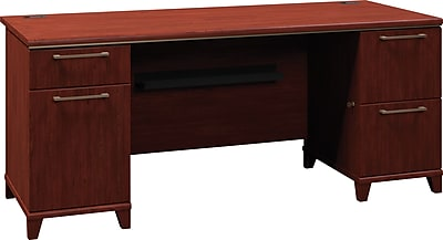 Bush Business Enterprise 72W Double Pedestal Desk, Harvest Cherry